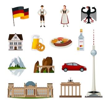 Coleção de ícones plana da alemanha