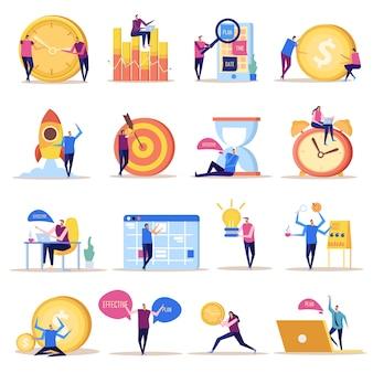 Coleção de ícones plana de conceito de gerenciamento eficaz de imagens de estilo doodle isolado com caracteres humanos e símbolos