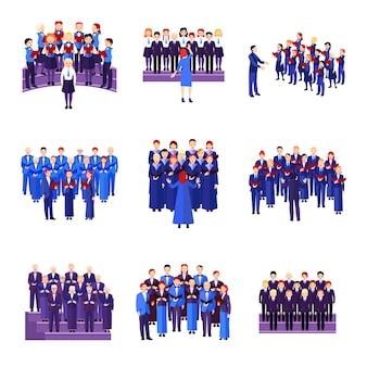 Coleção de ícones plana de coro de 9 conjuntos musicais de cantores vestidos de azul marinho preto