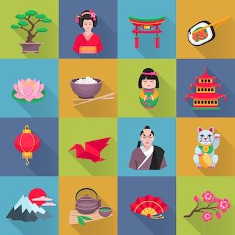 Coleção de ícones plana de cultura japonesa com flor de lótus lanterna vermelha