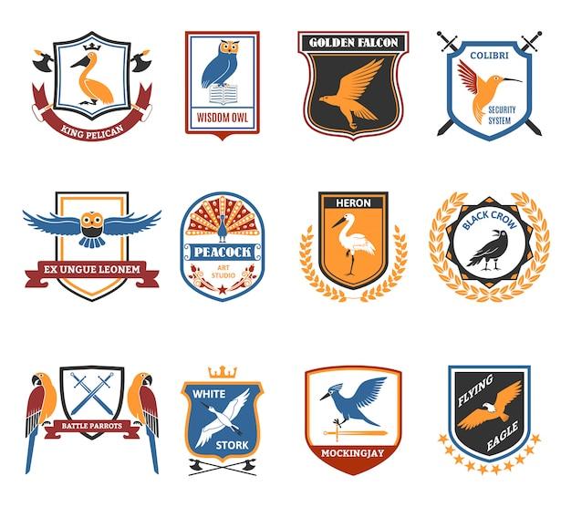 Coleção de ícones plana de emblemas de aves