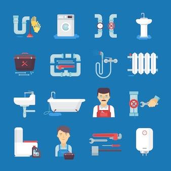 Coleção de ícones plana de encanador com aquecedor de água de pia de banheiro.