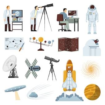 Coleção de ícones plana de equipamentos de pesquisa de astronomia