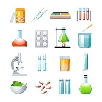 Coleção de ícones plana de farmacologia