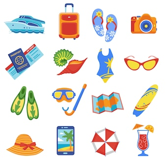 Coleção de ícones plana de férias de verão