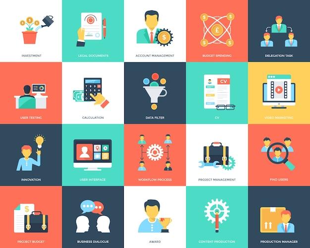 Coleção de ícones plana de gerenciamento de projeto