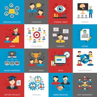 Coleção de ícones plana de gestão de recursos humanos