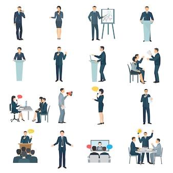 Coleção de ícones plana de habilidades de falar em público