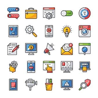 Coleção de ícones plana de interface de usuário