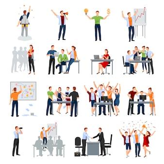 Coleção de ícones plana de momentos de trabalho de inicialização de negócios com o brainstorming de apresentação de planejamento de reunião