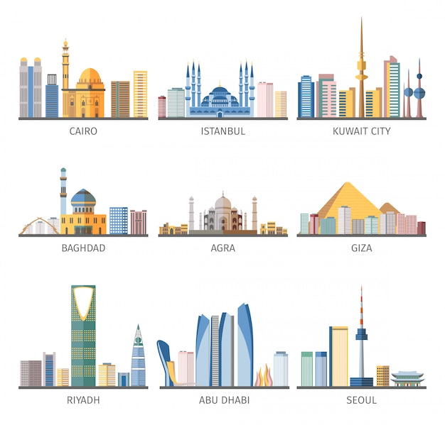 Coleção de ícones plana de monumentos de cidades do leste