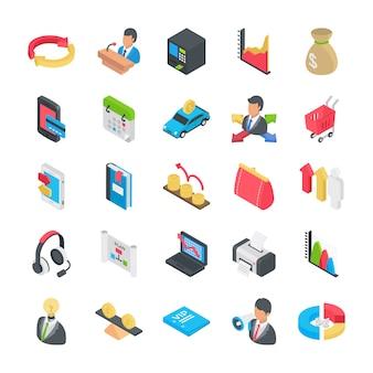 Coleção de ícones plana de negócios