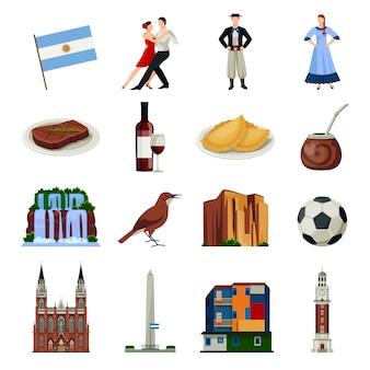 Coleção de ícones plana de símbolos de argentina