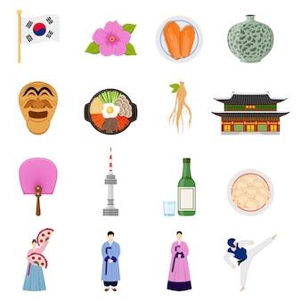 Coleção de ícones plana de símbolos de cultura coreana