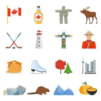 Coleção de ícones plana de símbolos nacionais do canadá