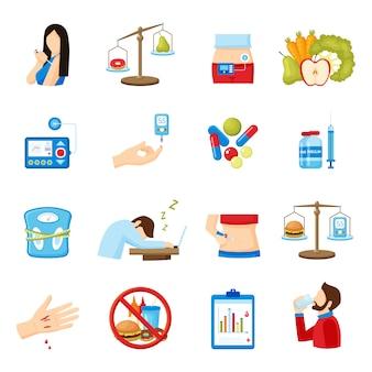 Coleção de ícones plana de sintomas de diabetes