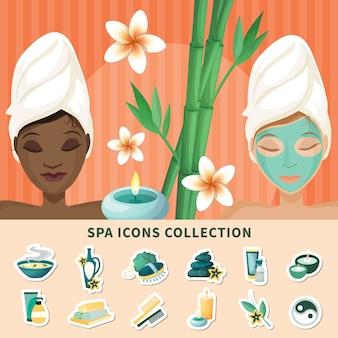 Coleção de ícones plana de spa resort