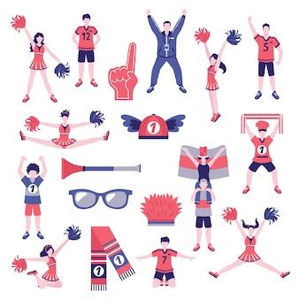 Coleção de ícones plana de torcedores de fãs