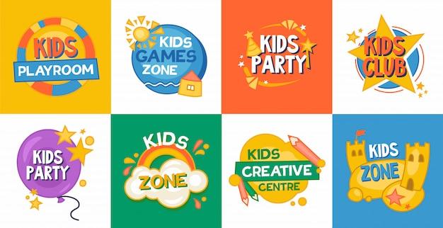 Coleção de ícones plana de zona de jogo de crianças