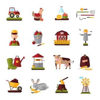 Coleção de ícones plana do agregado familiar camponês fazenda com animais domésticos de gado