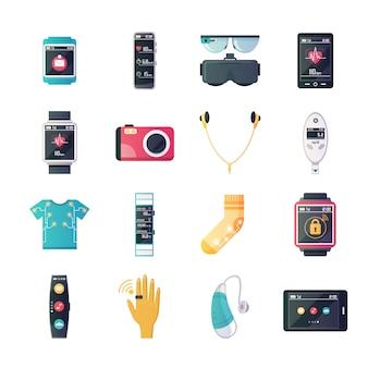 Coleção de ícones plana wearable tecnologia gadgets