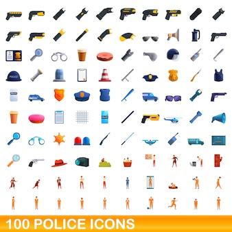 Coleção de ícones policiais isolados no branco