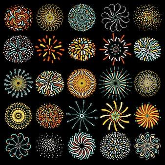 Coleção de ícones redondos festiva de fogos de artifício