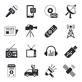 Coleção de ícones simples e simples de objetos de mídia de massa