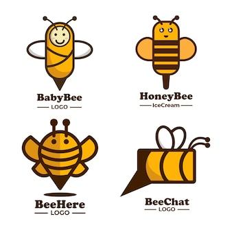 Coleção de ideias de logotipo de abelha