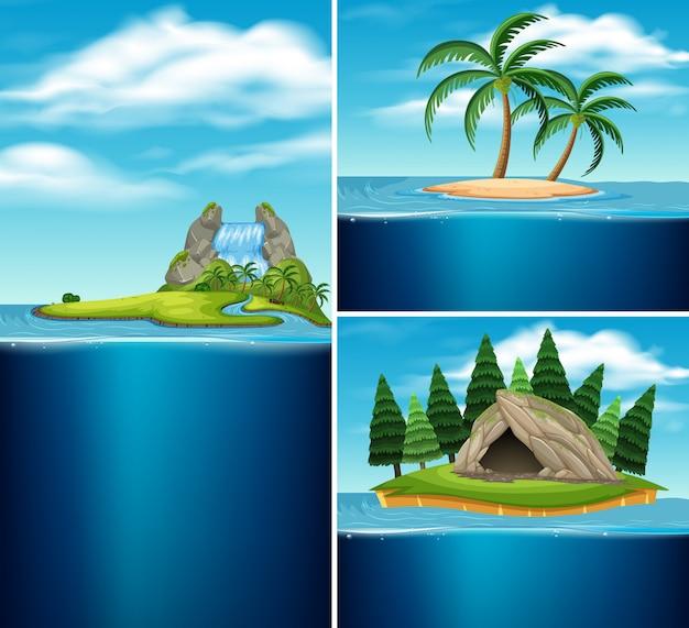 Coleção de ilhas diferentes
