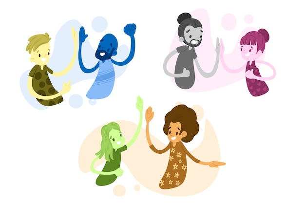 Coleção de ilustração com pessoas dando mais cinco