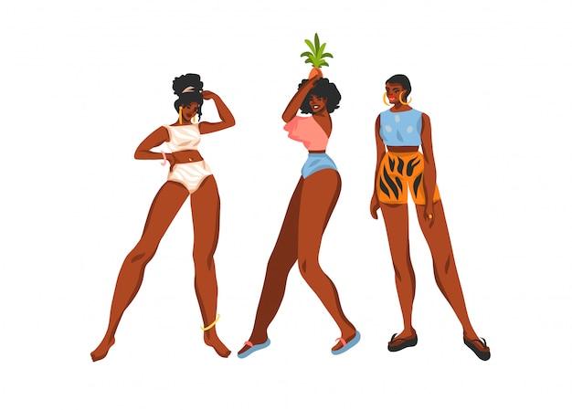 Coleção de ilustração conservada em estoque abstrata desenhada mão conjunto com jovens felizes, fêmeas de beleza em trajes de banho e chapéu de praia no fundo branco