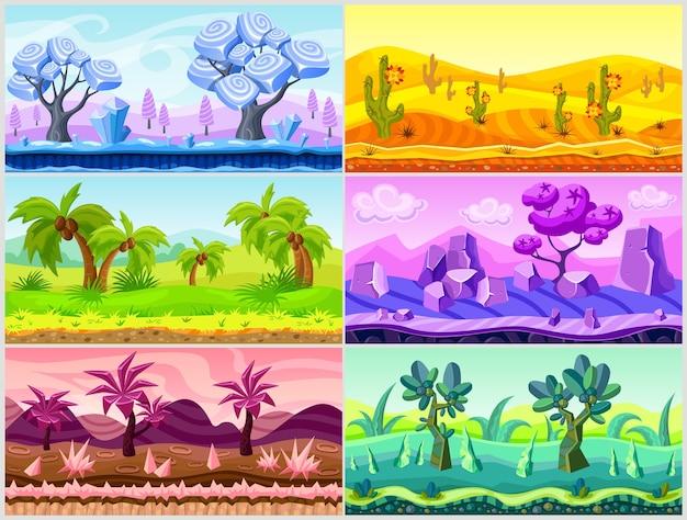 Coleção de ilustração da paisagem dos desenhos animados