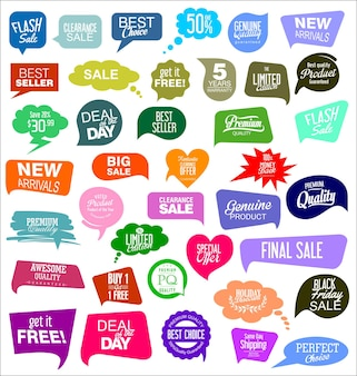 Coleção de ilustração de adesivos coloridos de venda