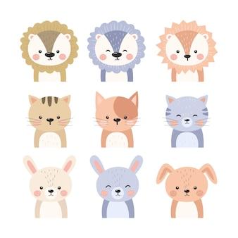 Coleção de ilustração de animais adoráveis