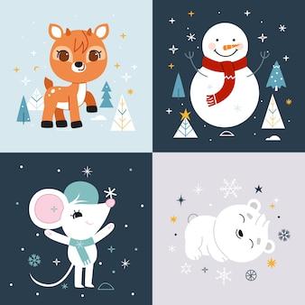 Coleção de ilustração de animais de personagens fofinhos de inverno