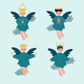 Coleção de ilustração de anjo de natal design plano