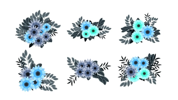 Coleção de ilustração de arranjo de buquê floral editável em vetor flores de jardim elegantes e elegantes