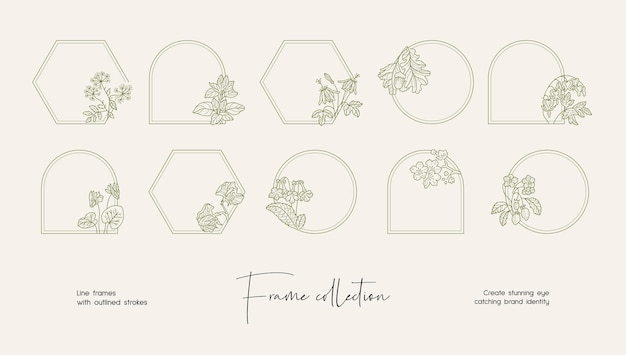 Coleção de ilustração de arte de linha de quadros decorativos de vetor para branding ou logotipo