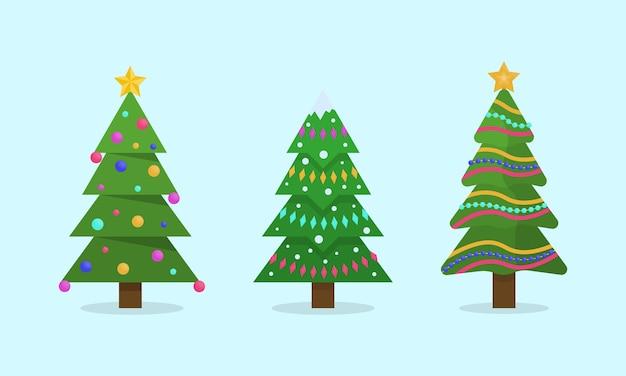 Coleção de ilustração de árvores de natal. feriado de inverno.