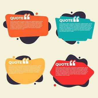 Coleção de ilustração de caixa de citações coloridas