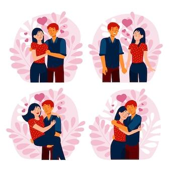 Coleção de ilustração de casal de design plano