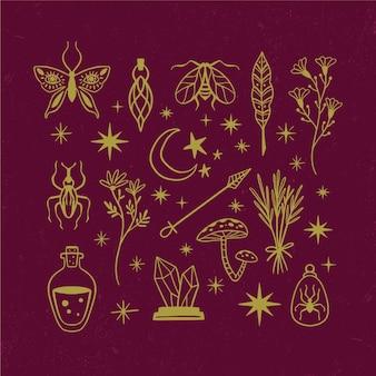 Coleção de ilustração de conceito de elementos esotéricos