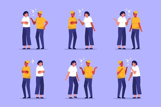 Coleção de ilustração de conflitos de casal
