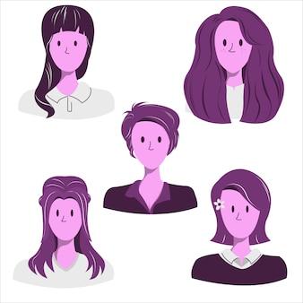 Coleção de ilustração de corte de tendência de penteado de mulher