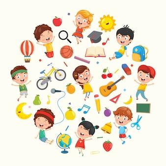 Coleção de ilustração de crianças e objetos