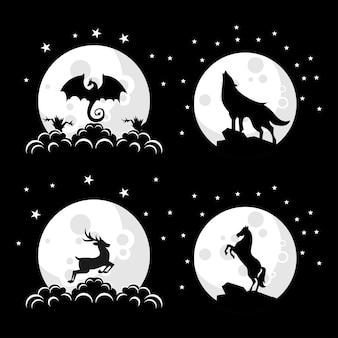 Coleção de ilustração de design de logotipo de animal silhueta na lua