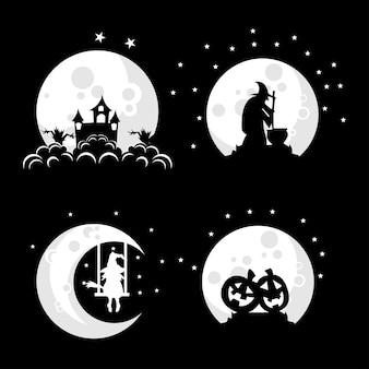 Coleção de ilustração de design de logotipo de bruxa na lua