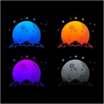 Coleção de ilustração de design de logotipo de lua de estilo gradiente