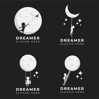 Coleção de ilustração de design de logotipo de sonho de criança
